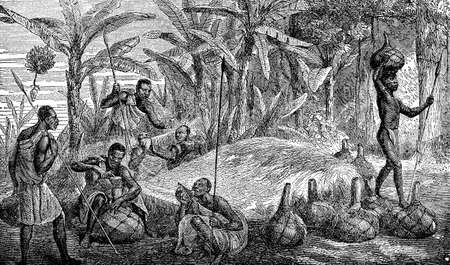 indigenous: Victorian engraving of indigenous African villagers preparing food
