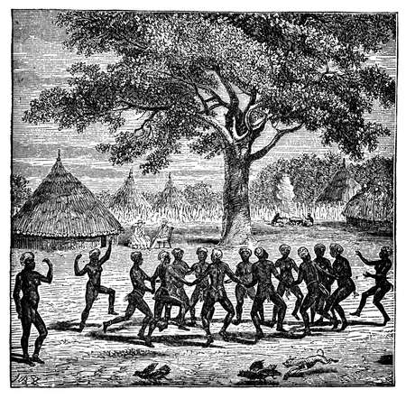 토착 아프리카 여성의 빅토리아 조각 댄스 스톡 콘텐츠