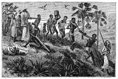 Victorian engraving of African slaves and slavers Archivio Fotografico