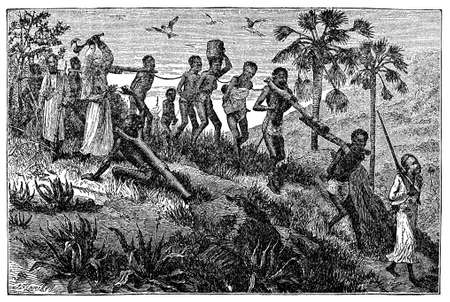 Victorian engraving of African slaves and slavers Standard-Bild