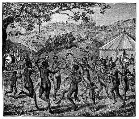 indigenous: Victorian engraving of indigenous African women dancing