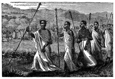 african village: Victorian engraving of an indigenous African village chief