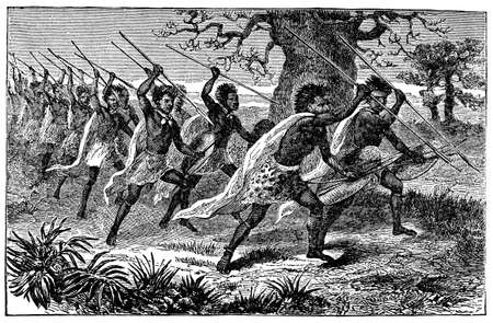 anthropology: Victorian engraving of indigenous African warriors