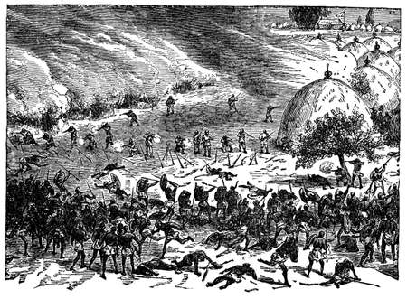 Victorian engraving of a battle between indigenous Africans and colonials