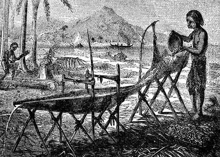 indigenous: Victorian engraving of indigenous Papuan women washing sago