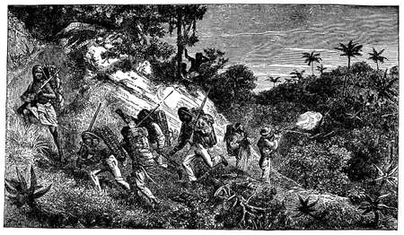 Victorian engraving of a skirmish between colonials and indigenous Africans Фото со стока