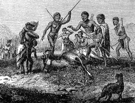 Victorian engraving of a successful hunt by indigenous African hunters