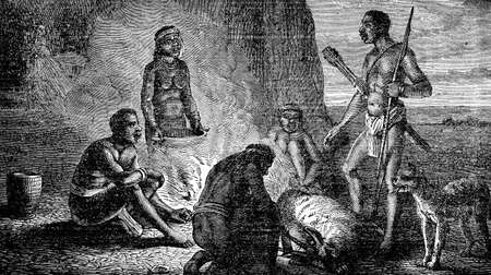 anthropology: Victorian engraving of indigenous African hunters at a campfire