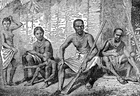 토착 아프리카 가족의 빅토리아 조각