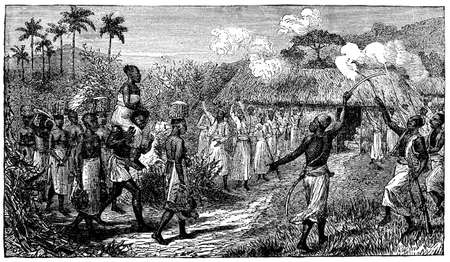 Victorian engraving of an indigenous African wedding ceremony