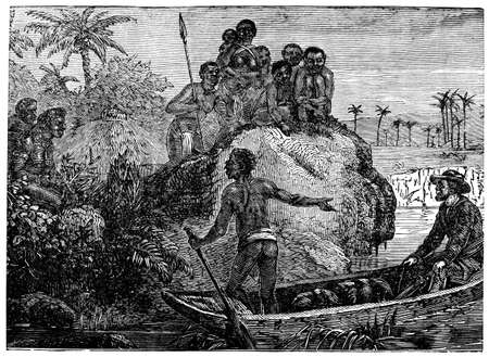 anthropology: Victorian engraving of a colonial explorer in Africa