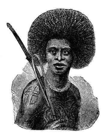 anthropology: Victorian engraving of an indigenous Papuan warrior Stock Photo