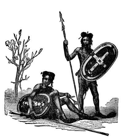 토착 아프리카 탐험가의 빅토리아 조각