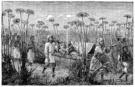 Victorian engraving of a colonial explorer in Africa