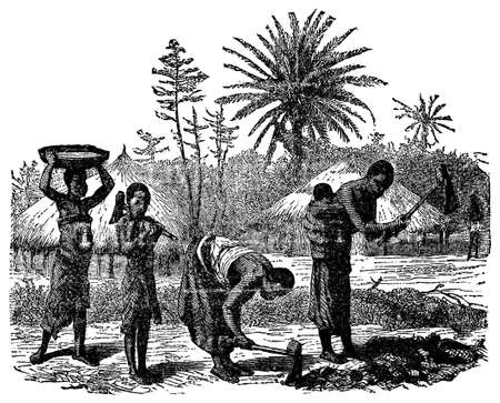 african village: Victorian engraving of an indigenous African village family Stock Photo