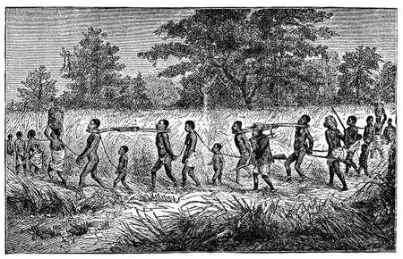 先住民族のアフリカの奴隷および slavers のビクトリア朝の彫刻 写真素材