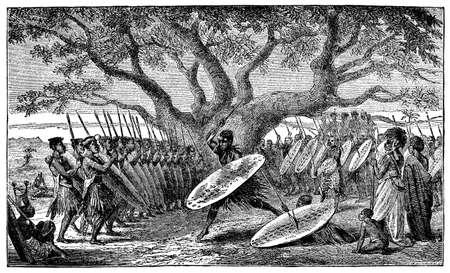Victorian engraving of an indigenous African warrior ceremony Reklamní fotografie