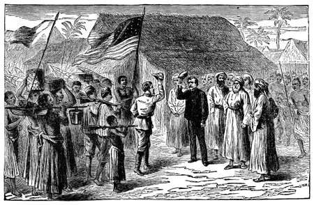 stanley: Victorian engraving of the meeting of Stanley and Livingstone in Africa