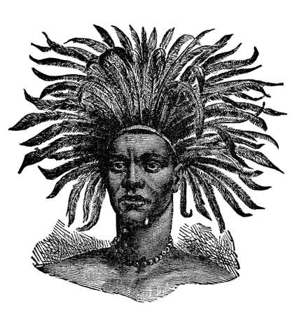 Victorian engraving of an indigenous African warrior Фото со стока