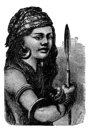 indigenous: Victorian engraving of an indigenous Papuan girl