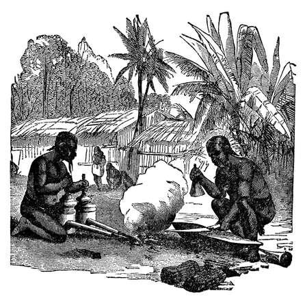 Victoriaanse gravure van inheemse Afrikaanse smeden Stockfoto - 42495242