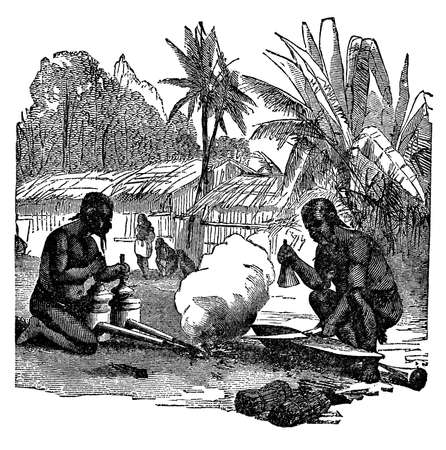 anthropology: Victorian engraving of indigenous African blacksmiths