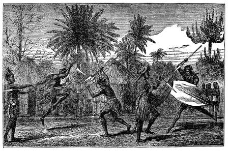 warriors: Victorian engraving of indigenous African warriors dancing