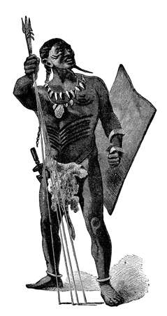anthropology: Victorian engraving of an indigenous African warrior Stock Photo