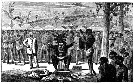 ritual: Victorian engraving of an African shaman performing a ritual