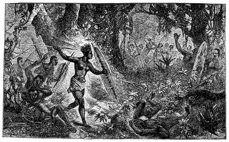 anthropology: Victorian engraving of indigenous African warriors in combat