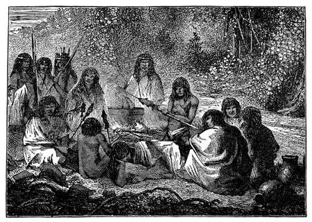 anthropology: Victorian engraving of indigenous Peruvian villagers