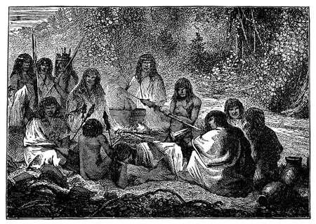 gatherings: Victorian engraving of indigenous Peruvian villagers