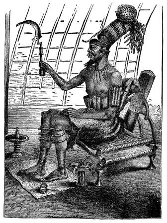 anthropology: Victorian engraving of an African king