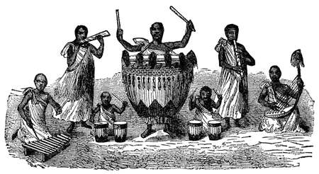 indigenous: Victorian engraving of indigenous African musicians Stock Photo