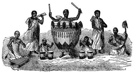Victorian engraving of indigenous African musicians Zdjęcie Seryjne
