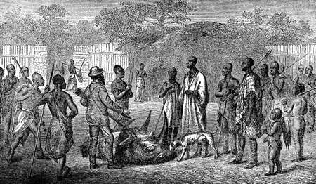 Victorian engraving of an indigenous african village and colonial hunter