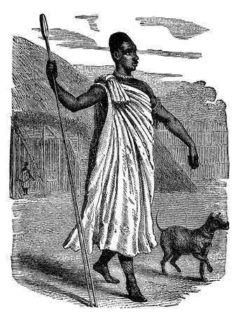 anthropology: Victorian engraving of an indigenous African chief