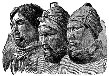 Victorian engraving of eskimo Inuit faces Stock Photo