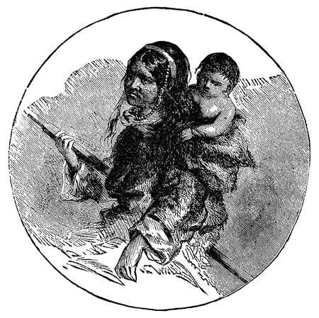 esquimales: Grabado victoriana de un esquimal Inuit madre y el niño Foto de archivo
