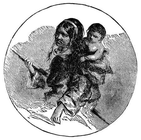 inuit: Victorian engraving of an eskimo Inuit mother and child Stock Photo