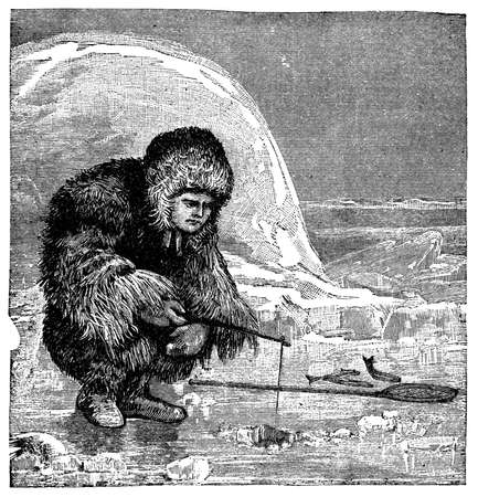 inuit: Victorian engraving of an inuit ice fishing Stock Photo