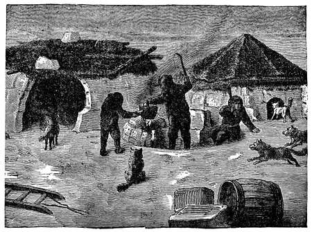 Victorian engraving of an Arctic camp with igloos Фото со стока - 42495331