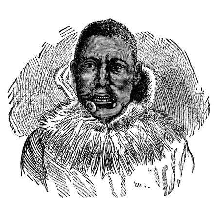 anthropology: Victorian engraving of an Inuit man