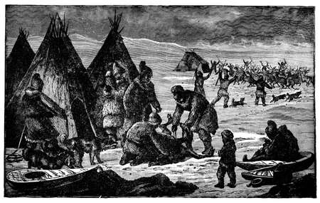 Victorian engraving of an Inuit hunting camp Stock Photo