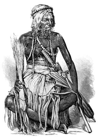 anthropology: Victorian engraving of a Hindu priest, India. Digitally restored image from a mid-19th century Encyclopaedia. Stock Photo