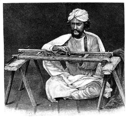 anthropology: Victorian engraving of a scarf maker, India. Digitally restored image from a mid-19th century Encyclopaedia. Stock Photo