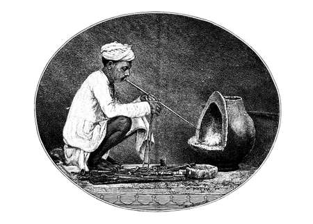 restored: Victorian engraving of a traditional goldsmith, India. Digitally restored image from a mid-19th century Encyclopaedia.