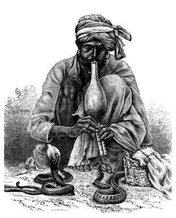 restored: Victorian engraving of a snake charmer, India. Digitally restored image from a mid-19th century Encyclopaedia. Stock Photo