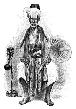 beg: Victorian engraving of a traditional mendicant, India. Digitally restored image from a mid-19th century Encyclopaedia.