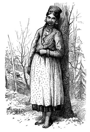 Victorian engraving of Himalayan girl, India. Digitally restored image from a mid-19th century Encyclopaedia. Stock Photo